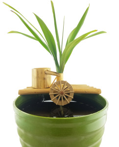 Bamboo Fountain with Plant Holder & Rock Stream