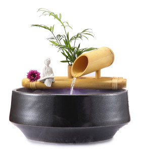 Bamboo Fountain with Plant Holder
