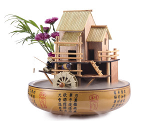 "10"" Bamboo House Fountain with Decorative Pot"